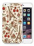France Paris Love City Eiffel Tower Floral Pattern White Phone Case for 6S Plus Plus 5.5 Inch,iPhone 6 Plus TPU Case