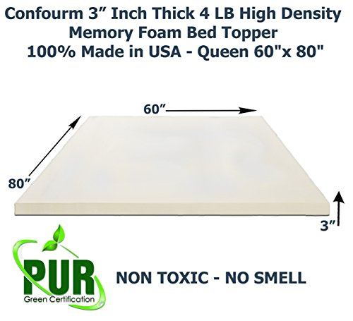 confourm 3 inch thick 4 pound high density memory foam bed topper 100 made in usa queen 60 x80. Black Bedroom Furniture Sets. Home Design Ideas