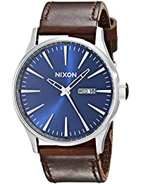 Sentry Leather A1051524-00. Blue and Brown Watch (42mm Blue/Silver Watch