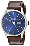 Nixon Sentry Leather A1051524-00. Blue and Brown Watch (42mm Blue/Silver Watch Face/ 23mm Brown Leather Band)