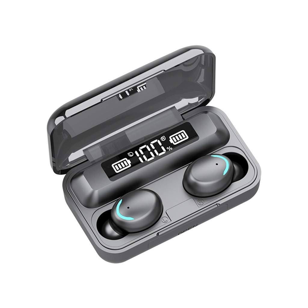True Wireless Mini Earbuds,Bluetooth 5.0 Stereo IPX6 Waterproof Smart Touch Earphones W/LED Digital Display,Sport in-Ear Noise Cancelling Headphones Auto Pairing Headset with 2000mah Charging Case