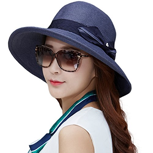 (Siggi Womens Floppy Summer Sun Beach Straw Hats UPF Foldable Bucket Cloche Hat 56-59CM NavyBlue )