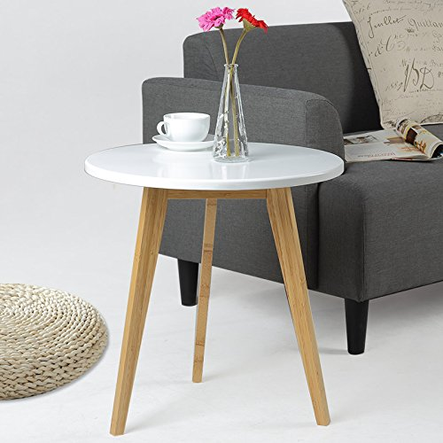 Asunflower End Table for Living Room, Wood Round Coffee Table, Modern Side Tables White, Small - Living Room Mdf Table