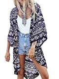 MIUNIKO Women's Tribe Floral Print 3/4 Sleeve Beach Swimwear Cover Up Kimono Cardigan Blouse (M)