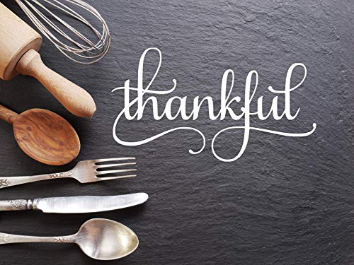 Thankful (White) decal, Sticker, Kitchen Decal, Thanksgiving, Grateful, Dining Room, Family, Christian, Religious 6.5