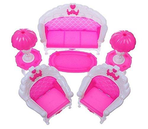 Produits de haute qualité 6 Pcs Chambre Meubles Ensemble Canapé Chaise Lampe Table De Thé pour 1/6 Barbie Poupées Maison Jouets Cadeaux De Noël