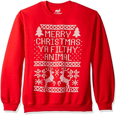 freeze mens merry christmas ya filthy animal sweatshirt red small at amazon mens clothing store - Merry Christmas Ya Filthy Animals