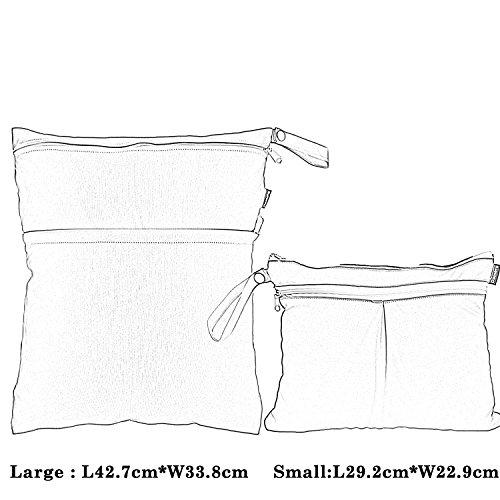 Damero 2pcs Paquete del recorrido del bebé seco y húmedo del pañal del paño del bolso del organizador, animales de la historieta colorido Chevron
