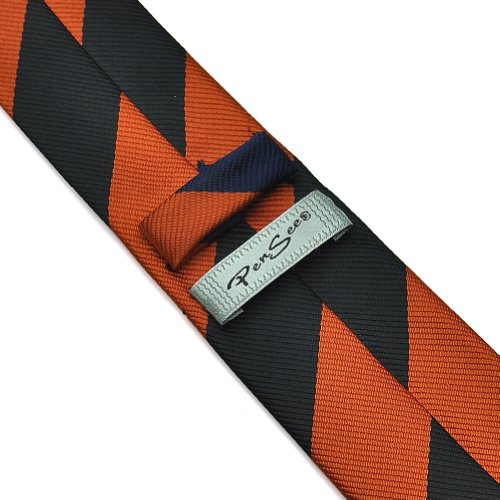 Pensee Skinny pour homme 100%  Polyester, cordon de soie avec attaches Motif rayures Orange/noir