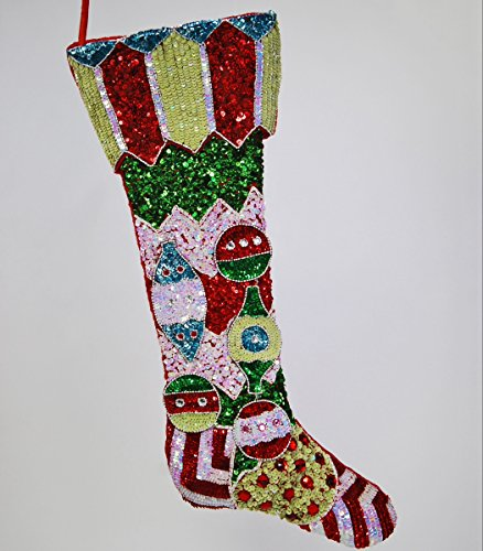 """Katherine's Collection Christmas stocking sequins beads ornaments 29"""""""