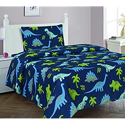 Elegant Home Dinosaurs Jurassic Park Design Multicolor Dark Blue Green 3 Piece Printed Twin Size Sheet Set with Pillowcase Flat Fitted Sheet for Boys / Kids/ Teens # Dinosaurs Blue 2 (Twin)