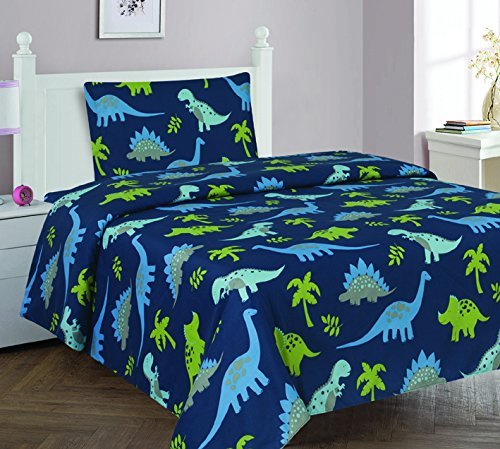 Elegant Home Dinosaurs Jurassic Park Design Multicolor Dark Blue Green 3 Piece Printed Twin Size Sheet Set with Pillowcase Flat Fitted Sheet for Boys/Kids/Teens # Dinosaurs Blue 2 (Twin) by Elegant Home