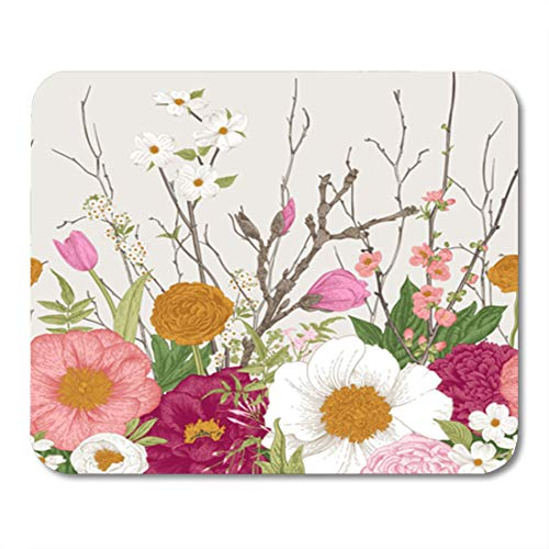 Semtomn Gaming Mouse Pad Border Spring Flowers and Twig Peonies Spirea Cherry Blossom Dogwood 9.5