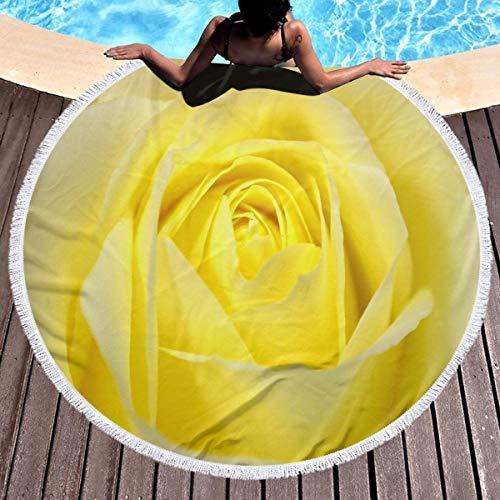 Allgobee Round Beach Towel Yellow Rose Valentine's Day Large Blanket with Tassels Ultra Soft Multi-Purpose Beach Throw 59 Inch