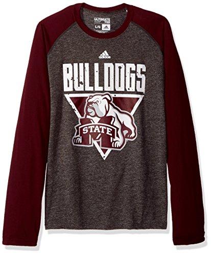 adidas NCAA Mississippi State Bulldogs Mens Color Splat Ultimate L/S Raglan Teecolor Splat Ultimate L/S Raglan Tee, Dark Gray Heather, Large