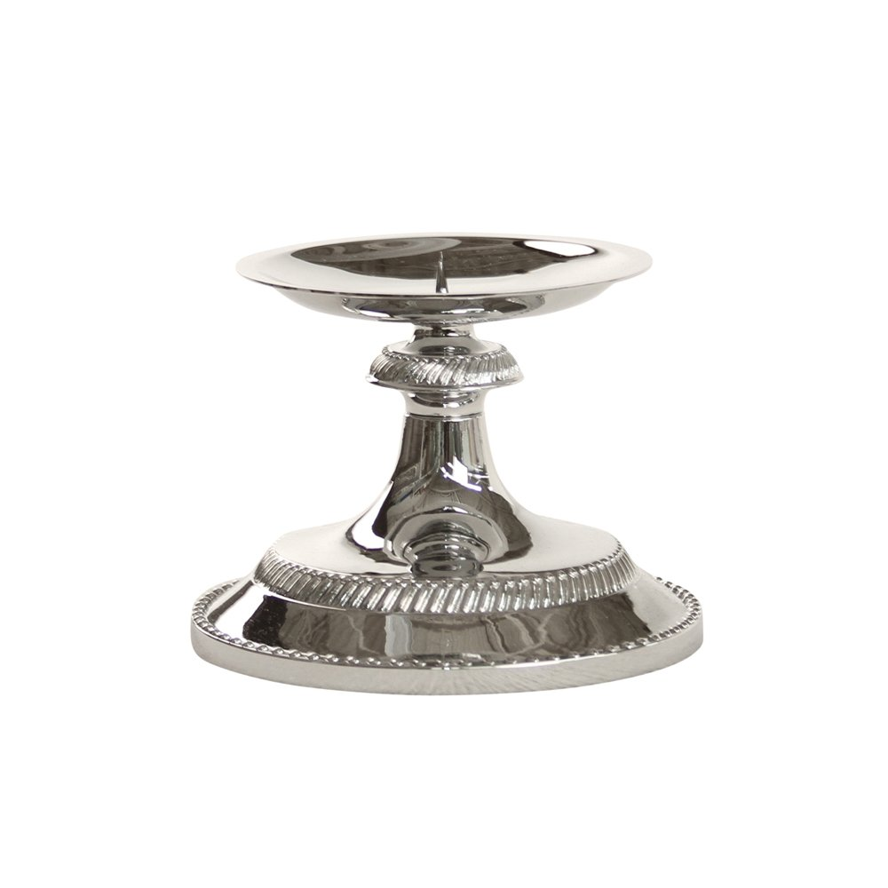 Ivy Lane Design Beaded Pillar Candle Holder, Chrome-Plated 10-2465