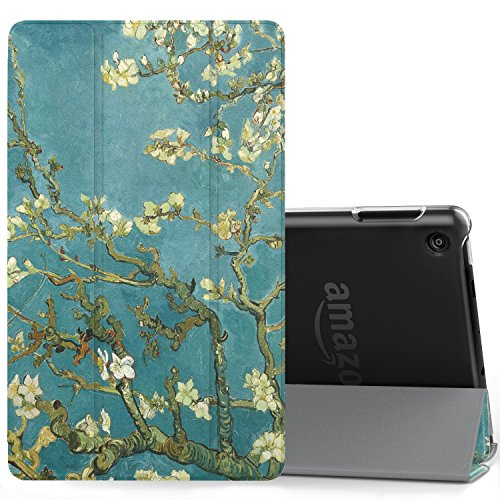 MoKo Case for All-New Amazon Fire 7 Tablet (7th Generation, 2017 Release Only)-Ultra Lightweight Slim Shell Stand Cover with Translucent Frosted Back for Fire 7, Almond Blossom (with Auto Wake/Sleep)