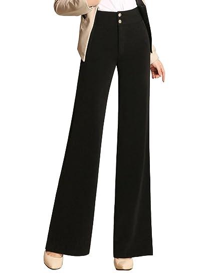 Women S High Waist Business Work Wide Leg Palazzo Dress Pants At
