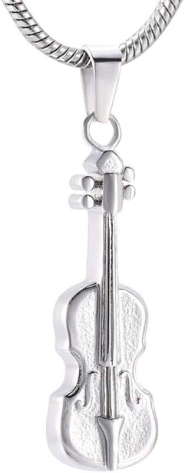 Colgante de cremación Musical de Acero Inoxidable para Cenizas humanas, Collar de urna Conmemorativa de Recuerdo con Forma de Guitarra