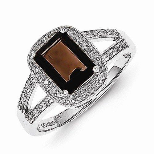 925 Sterling Silver Simulated Emerald-cut Brown Smokey Quartz & Diamond Fashion or Engagement Ring (.08 cttw.) (3mm)