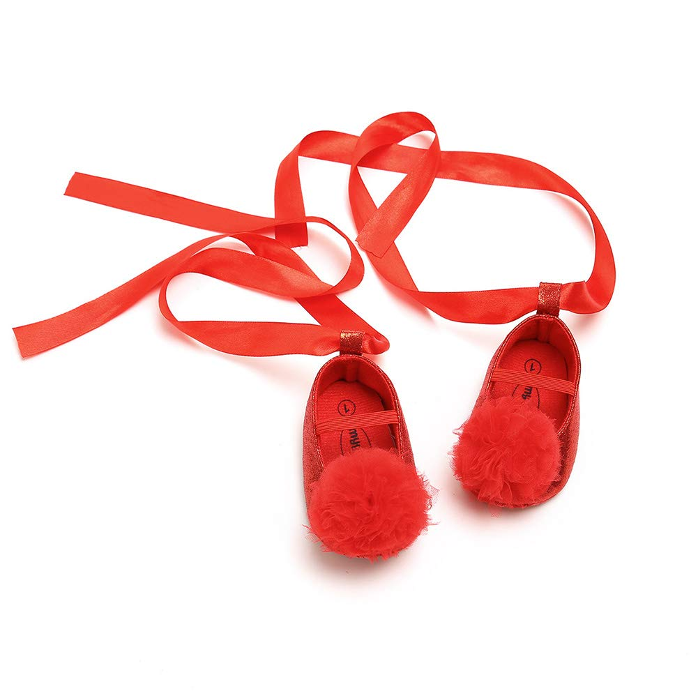 Golden 11cm Alamana Fashion Infant Baby Girl Ball Faux Leather Anti-Slip Prewalker Toddler Shoes