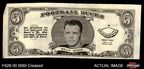 1962 Topps Football Bucks # 42 Bill Wade Chicago Bears for sale  Delivered anywhere in USA