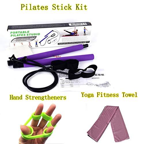 Pilates Bar Kit/Serviette De Fitness Yoga/Renforcement des Mains en Silicone/pour Le Yoga, éTirement, Sculpture, Torsion…