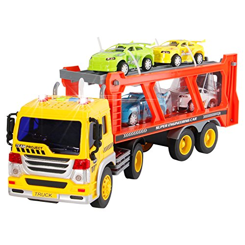 - Liberty Imports 2-in-1 Friction Powered Car Carrier Truck 1:16 Toy Auto Transporter Vehicle with Lights and Sounds