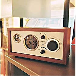 Luminous creative classical wooden antique radio retro table clock wood alarm clock radio ,Red