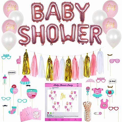 (Premium 130+ Pieces Set Baby Shower Decorations for Girl   Bridal Shower   Large Baby Shower Foil Balloon  It's a Girl Cake Topper   Large Photo Frame   Napkins  )