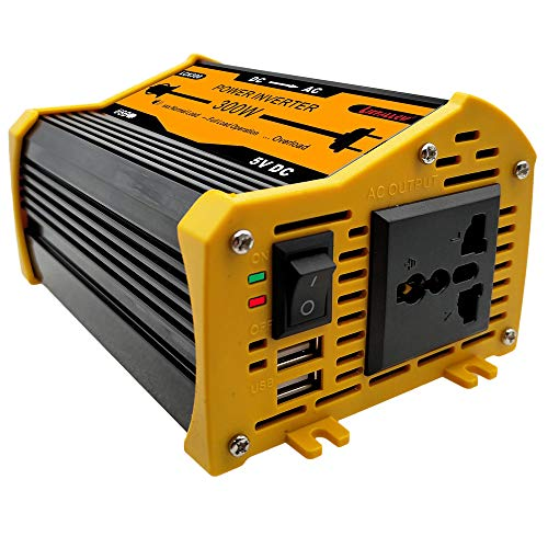 Liefallow Power Inverter 300W DC 12V to AC 110V 120V Car Converter with Dual USB Charger 4.1A Cigarette Lighter Adapter Socket for Car Laptop Charger Power Supply Camping (Black) (Nokia Auto Adapter)