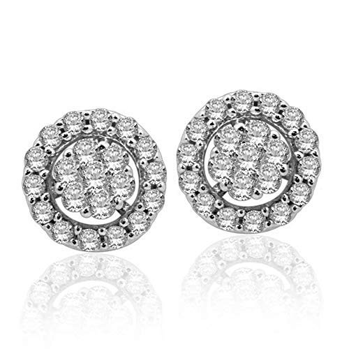 Halo Jewels 14K White Gold, 0.50 Carat Round-Shape (I-J Color, I2-I3 Clarity) Natural White Diamond Earrings for Women