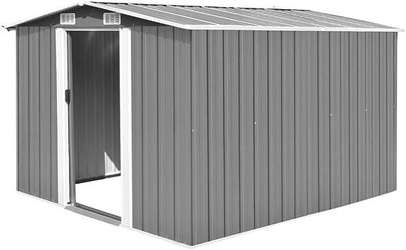 vidaXL Caseta de Jardín de Metal Gris 257x298x178cm Jardín Patio Cobertizo: Amazon.es: Bricolaje y herramientas