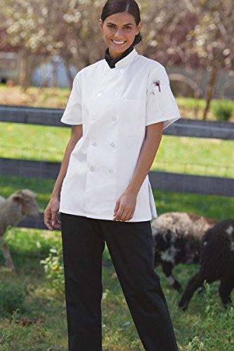 Chef Coat Jacket Uniform (Uncommon Threads Women's Tahoe Fit Chef Coat, White, Small)