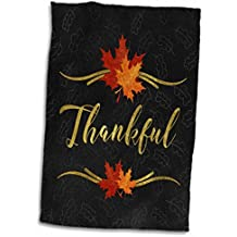 """3dRose Thankful Typography Faux Gold Leaf and Chalkboard Fall Theme Towel, 15"""" x 22"""""""