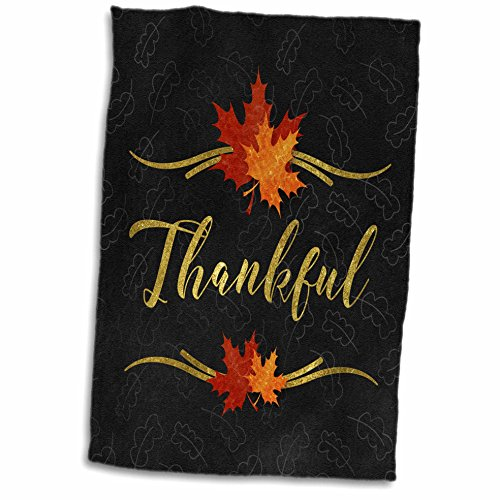 3dRose Thankful Typography Faux Gold Leaf and Chalkboard Fal