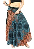 vvProud Women's Long Hippie Bohemian Skirt Gypsy Dress Boho Clothes with Jango Flowers | One Size Fits Asymmetric Hem Design (Ocean Flower)