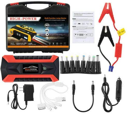 4 Modes of LED Flashlight Positive and Negative Clips with 4 USB Sockets etc Riloer 12V UK LCD Smart Car Phone Battery Charger Power Supply 20000mAh Portable Car Emergency Start Power Toolbox