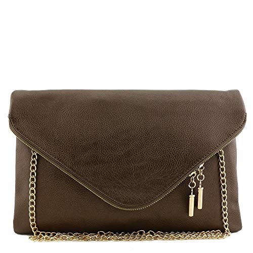 - Large Envelope Clutch Bag with Chain Strap Bronze