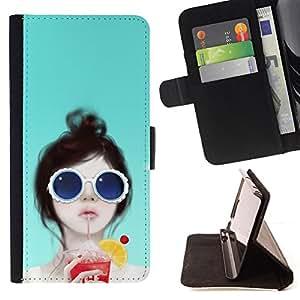 BullDog Case - FOR/Samsung Galaxy S6 EDGE / - / sun beach glasses cocktail beach party art /- Monedero de cuero de la PU Llevar cubierta de la caja con el ID Credit Card Slots Flip funda de cuer