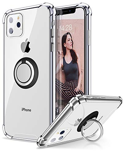 ANSIWEE iPhone 11 Pro Max Case with Phone Ring Holder, Colorful and Clear Hard Back Shock Drop Proof Impact Resist Extreme Durable Protective Cover Cases for Apple iPhone 11 Pro Max (Crystal Clear)