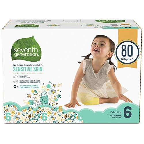 Seventh Generation Baby Diapers for Sensitive Skin, Animal Prints, Size 6, 80 Count (Packaging May Vary) (Generation Seventh Diapers 6 Size)