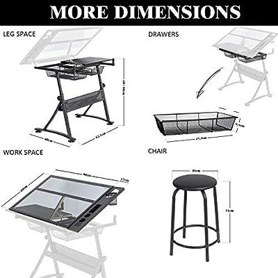 Display4top Puede inclinarse Mesa de Dibujo - Incluye taburetes ...