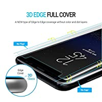 Galaxy S8 Screen Protector Tempered Glass Shield, Whitestone 3D Curved [Full Coverage] Gorilla Glass and Easy Install Kit for Samsung Galaxy S8 (2017) with USB Type C Adapter from Dome Glass
