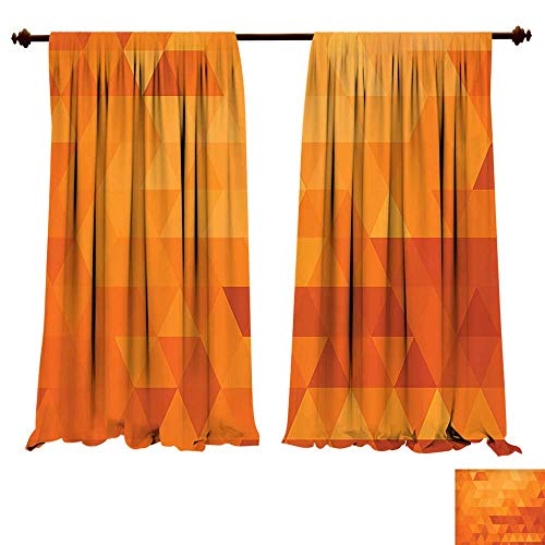 Thermal Insulating Blackout Curtain Burnt Orange Triangle Mosaic Shaded Shapes and Patterns Digital Pixel Ative Home Burnt Orange Patterned Drape for Glass Door (W107 x L107 -Inch 2 Panels)