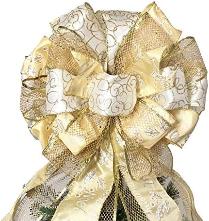 Ivory Gold Swirl Sparkle Christmas Tree Topper Bow Christmas Tree Bow Bow Tree Topper Tree Topper