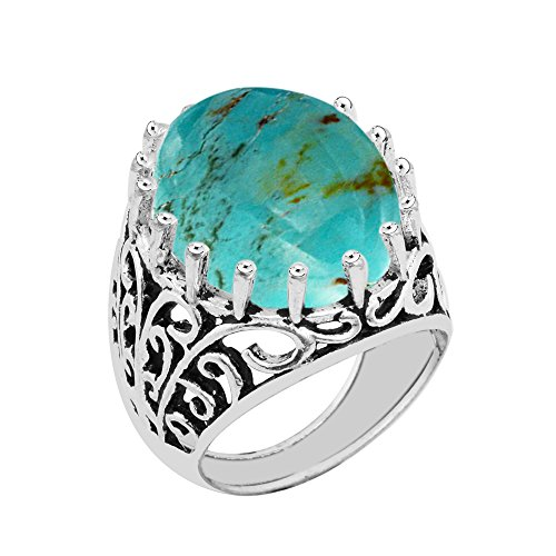 Made Genuine Turquoise Ring (GOURIK 15.50ct, Genuine Cabochon Turquoise 15x20mm Oval & Silver Plated Fashion Ring (Size-9))