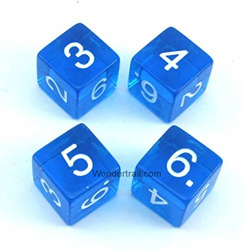 開店記念セール! WKP02482E4 Blue Transparent Dice with Games White Numbers D6 16mm B00TP3J43C WKP02482E4 (5/8in) Pack of 4 Dice Koplow Games B00TP3J43C, vanquish international:be361684 --- catconnects-ie.access.secure-ssl-servers.org