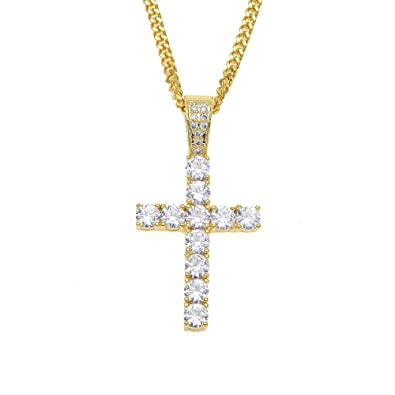 a325c3b4d85b6 MCSAYS Hip Hop Jewelry Iced Out Bling Full Crystal Cross Pendant Golden  Cuban Chain Religious Christian Necklace Fashion Accessories for Men/Women  ...