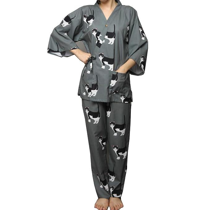 Traje de Pijama de Kimono Yukata de Estilo japonés para Mujer Set-Lovely Cat 02